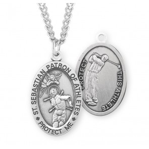 Saint Sebastian Oval Sterling Silver Golf Male Athlete Medal
