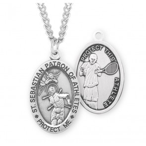 Saint Sebastian Oval Sterling Silver Tennis Male Athlete Medal