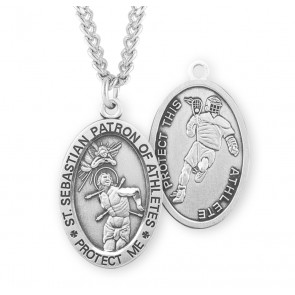 Saint Sebastian Oval Sterling Silver Lacrosse Male Athlete Medal