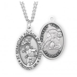 Saint Sebastian Oval Sterling Silver Wrestling Male Athlete Medal