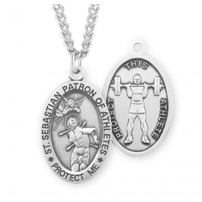 Saint Sebastian Oval Sterling Silver Weight Lifting Male Athlete Medal