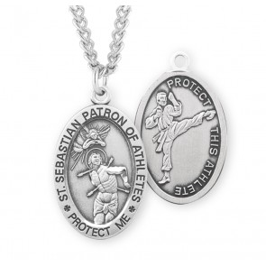 Saint Sebastian Oval Sterling Silver Martial Arts Male  Athlete Medal