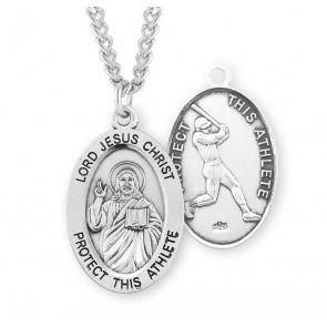 Lord Jesus Christ Oval Sterling Silver Baseball Male Athlete Medal
