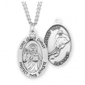 Lord Jesus Christ Oval Sterling Silver Hockey Male Athlete Medal