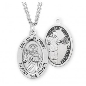 Lord Jesus Christ Oval Sterling Silver Tennis Male Athlete Medal