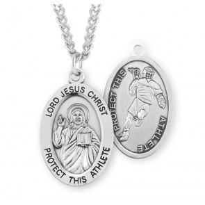 Lord Jesus Christ Oval Sterling Silver Lacrosse Male Athlete Medal