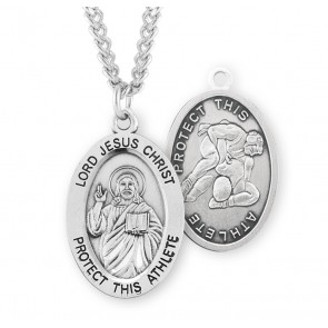 Lord Jesus Christ Oval Sterling Silver Wrestling Male Athlete Medal