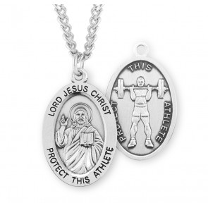 Lord Jesus Christ Oval Sterling Silver Weight Lifting Male Athlete Medal