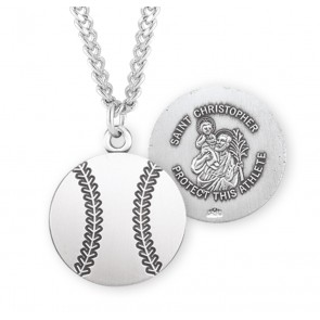 Saint Christopher Oval Sterling Silver Baseball Athlete Medal