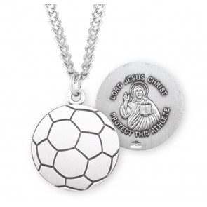 Lord Jesus Christ Sterling Silver Soccer Athlete Medal