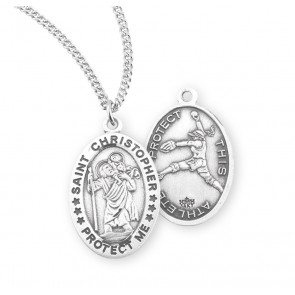 Saint Christopher Oval Sterling Silver Female Softball Athlete Medal