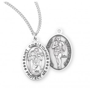Saint Christopher Oval Sterling Silver Female Track Athlete Medal