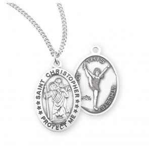 Saint Christopher Oval Sterling Silver Female Cheer Athlete Medal