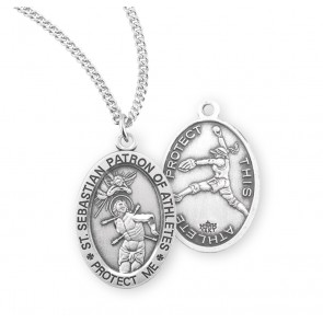 Saint Sebastian Oval Sterling Silver Female Softball Athlete Medal