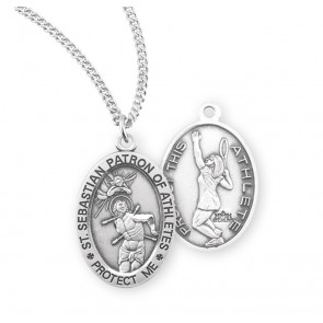 Saint Sebastian Oval Sterling Silver Female Tennis Athlete Medal