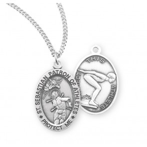 Saint Sebastian Oval Sterling Silver Female Lacrosse Athlete Medal