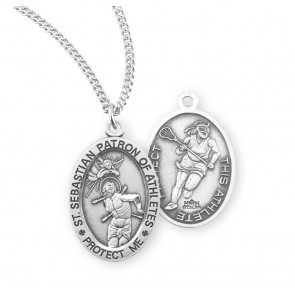 Saint Sebastian Oval Sterling Silver Female Swimming Athlete Medal