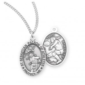 Saint Sebastian Oval Sterling Silver Female Volleyball Athlete Medal