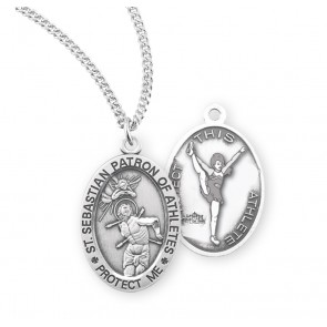 Saint Sebastian Oval Sterling Silver Female Cheer Athlete Medal
