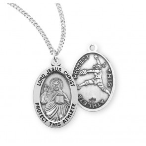 Lord Jesus Christ Oval Sterling Silver Female Softball Athlete Medal
