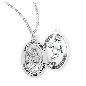 Lord Jesus Christ Oval Sterling Silver Female Basketball Athlete Medal