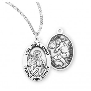Lord Jesus Christ Oval Sterling Silver Female Volleyball Athlete Medal