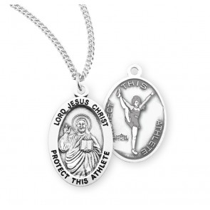 Lord Jesus Christ Oval Sterling Silver Female Cheer Athlete Medal