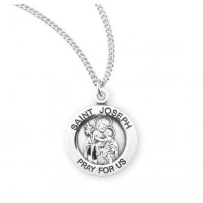 Saint Joseph Round Sterling Silver Medal