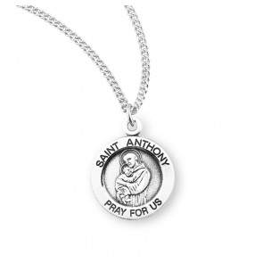 Saint Anthony Round Sterling Silver Medal