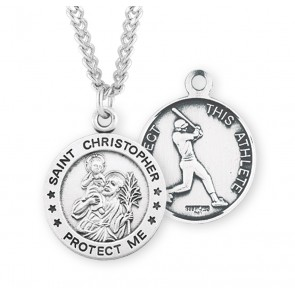 Saint Christopher Round Sterling Silver Baseball Male Athlete Medal