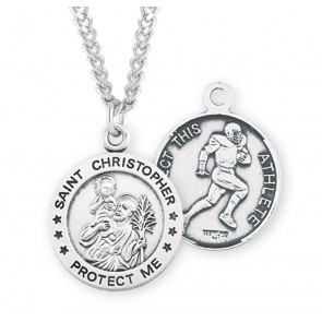 Saint Christopher Round Sterling Silver Football Male Athlete Medal