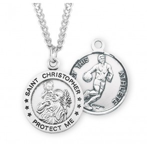 Saint Christopher Round Sterling Silver Basketball Male Athlete Medal