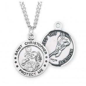 Saint Christopher Round Sterling Silver Hockey Male Athlete Medal