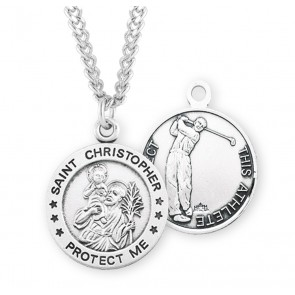 Saint Christopher Round Sterling Silver Golf Male Athlete Medal