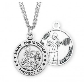 Saint Christopher Round Sterling Silver Tennis Male Athlete Medal
