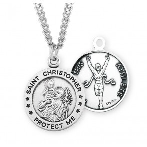 Saint Christopher Round Sterling Silver Track Male Athlete Medal