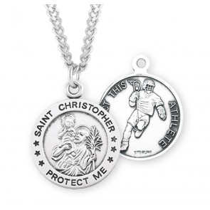 Saint Christopher Round Sterling Silver Lacrosse Male Athlete Medal