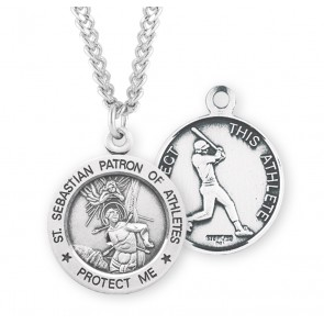 Saint Sebastian Round Sterling Silver Baseball Male Athlete Medal