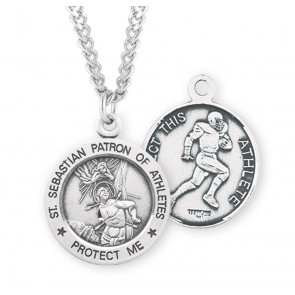Saint Sebastian Round Sterling Silver Football Male Athlete Medal