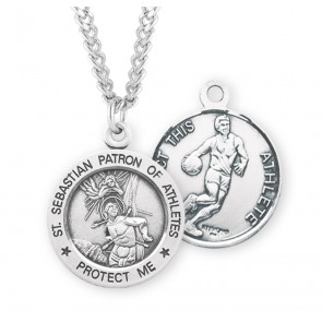 Saint Sebastian Round Sterling Silver Basketball Male Athlete Medal