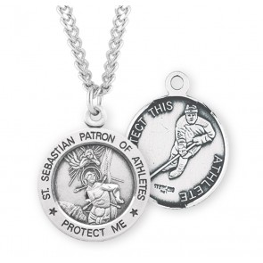 Saint Sebastian Round Sterling Silver Hockey Male Athlete Medal