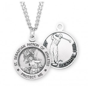 Saint Sebastian Round Sterling Silver Golf Male Athlete Medal