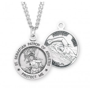 Saint Sebastian Round Sterling Silver Swimming Male Athlete Medal