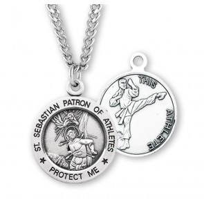 Saint Sebastian Round Sterling Silver Martial Arts Male Athlete Medal