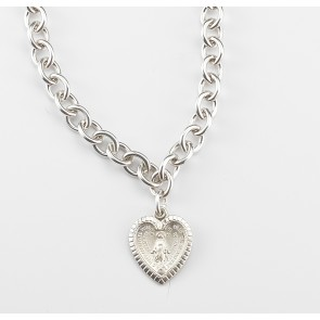 "18"" Sterling Silver Linked Miraculous Medal  Necklace"