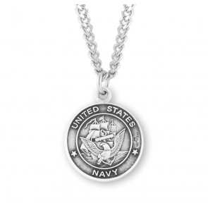 Sterling Silver Navy Medal with St. Michael on Reverse Side