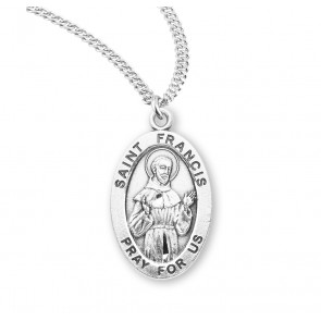 Patron Saint Francis Assisi Oval Sterling Silver Medal