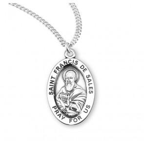 Patron Saint Francis De Sales Oval Sterling Silver Medal