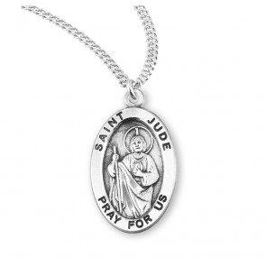 Patron Saint Jude Oval Sterling Silver  Medal