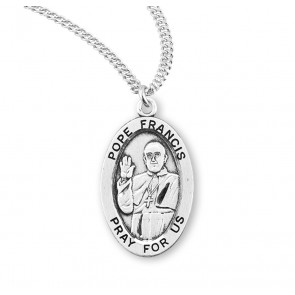 Pope Francis Oval Sterling Silver Medal